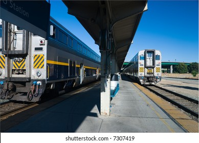 Commuter trains at Sacramento passenger depot