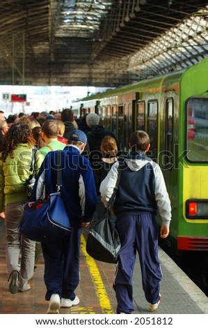 Commuters boarding Tram at Pearse St. Dublin