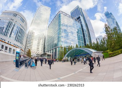Commuters in Canary Wharf, London Financial District