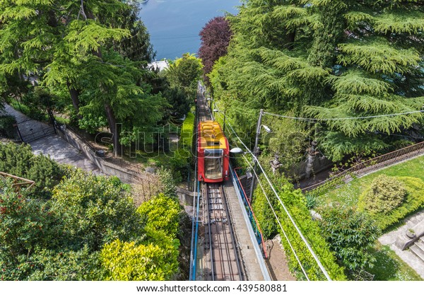Como Italy 25 April 2014 The funicular railway service connects Como with the town of Brunate