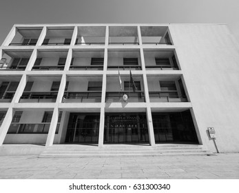 COMO, ITALY - CIRCA APRIL 2017: Casa del Fascio (former National Fascist party seat) aka Palazzo Terragni designed by rationalist architect Giuseppe Terragni in black and white