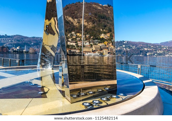 COMO, ITALY - DECEMBER 2, 2016: View of Stainless steel sculpture Life Electric created by Daniel Libeskind situated on Lake Como in Como city, Lombardy, Italy