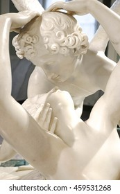 COMO, ITALY - JULY 17, 2016 : Marble sculpture of Eros and Psyche by Antonio Tadolini, a sculpture of Cupid's kiss (mythological lovers). A masterpiece of neoclassical sculpture, at Villa Carlotta.