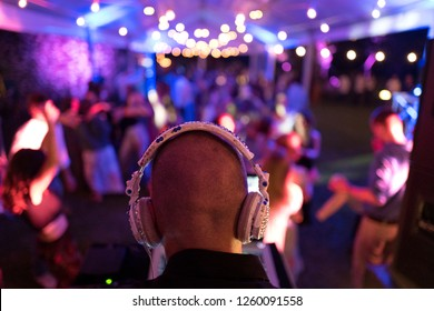 COMO, ITALY, JUNE 01, 2018: deejay's head back view, on an house garden's night party, with blurry people dancing in the background, in Como.