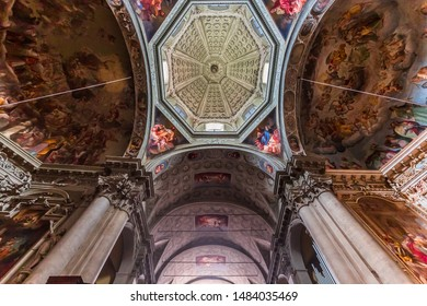 COMO, ITALY, JUNE 06, 2019 : architectural decors and frescoes of basilica san Fedele , june 06, 2019, in Como, italy