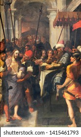 COMO, ITALY - MAY 10, 2015: The painting of Arrest of Jesus in Gethsemane garden in church Chiesa di San Agostino probably by Francesco Mazzucchelli - Morazzone from 16. cent.