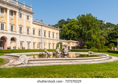 Como, Italy - May 27, 2016: Ancient fountain at Villa Olmo located in the city of Como, northern Italy.