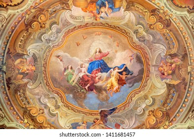 COMO, ITALY - MAY 8, 2015: The ceiling fresco of Assumption of Virgin Mary in church Santuario del Santissimo Crocifisso by Gaetano Barabini (19. cent.).