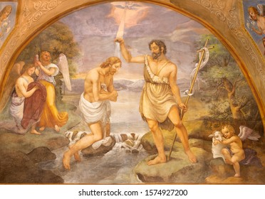 COMO, ITALY - MAY 9, 2015: The fresco Baptism of Jesus in church Basilica di San Fedele by Onorato Andina (18. cent.).