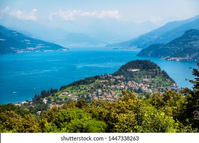 Como lake and Bellagio from above, view from Madonna del Ghisallo, Lecco, Italy.