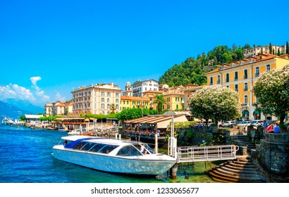 Como lake and Bellagio town in Lombardy, Milan, Italy.