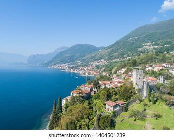 Como lake, castle of Rezzonico and small village