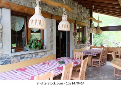 COMO LAKE, ITALY - August 2017: Travel view of Lake Como featuring Le Radici agritourism restaurant. The image location is lakes in Italy, Europe.
