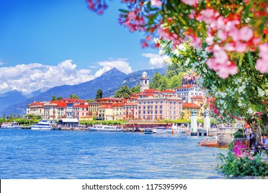 Como lake in Italy. Spectacular view on coastal town - Bellagio, Lombardy. Famous Italian recreation zone and popular European travel destination. Summer scenery.
