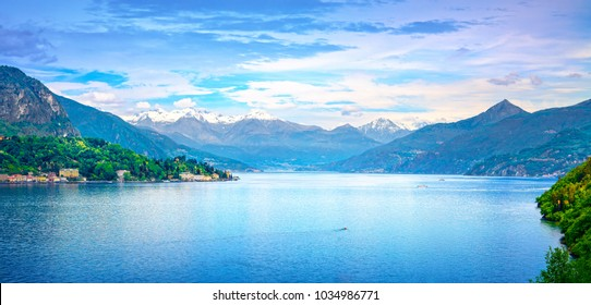 Como Lake panoramic landscape. Lake, Alps and Tremezzo village view from Bellagio road. Italy, Europe.