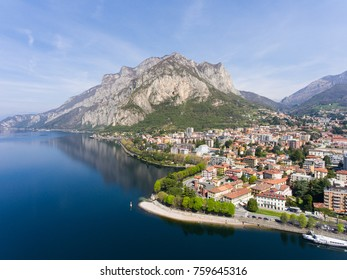 Como lake, panoramic view of Lecco. Aerial photo