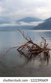Como lake in rainy day, Italy.