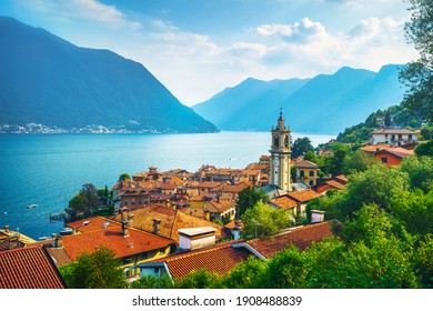 Como Lake, Sala Comacina bell tower from greenway trail. Italy, Europe.