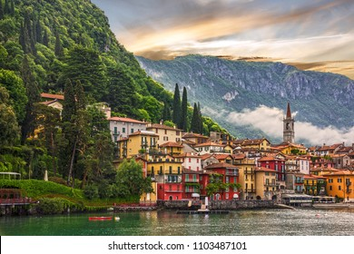 Como lake, Varenna town sunset view, Italy, Lombardy