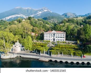 Como lake, villa Carlotta. Tourist attraction in Italy. Aerial view