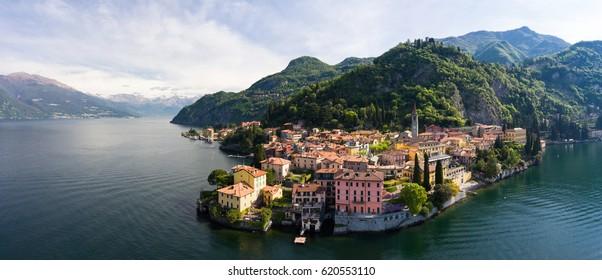Como Lake - Village of Varenna - Aerial view