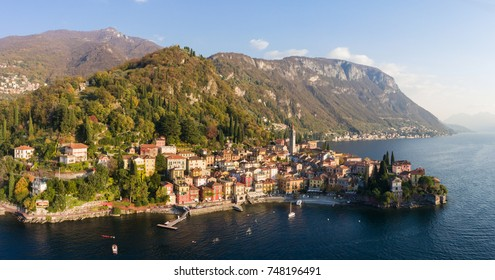 Como lake, village of Varenna. Panoramic view from a drone