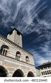 Como (Lombardy, Italy): exterior of Broletto, historic palace with tower built in 13th century