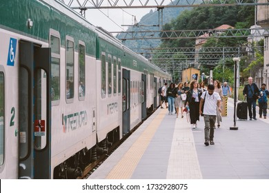Como railway station arriving train Trenord Italia. Trenord Locomotive Como railway Station. Trenord train carriage. passenger traffic. Local train Italy. Regional train north Italy September 20, 2019