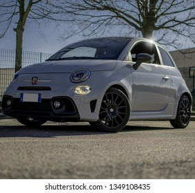 como,Italy 24th March 2019 The brand new abarth 595 Pista posing for some shoot as the spring sunlight comes out