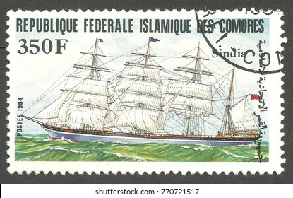 Comoros - stamp printed 1984, Color memorable Edition of offset printing with Topic Sailing ships, Sindia
