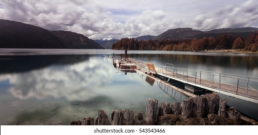Comox Lake, a freshwater lake located in mid-Vancouver Island near Cumberland, British Columbia, Canada.