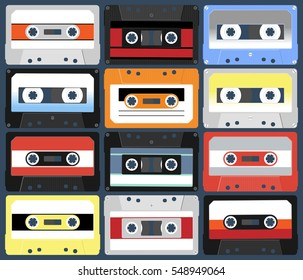 Compact cassettes. Set. Illustration flat design style