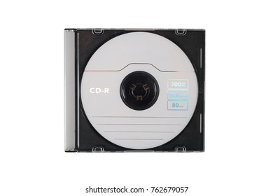 Compact CD disk in case isolated on white background