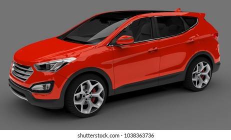 Compact city crossover red color on a gray background. 3d rendering.