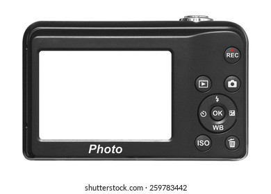 Compact digital camera with blank screen, isolated on white background