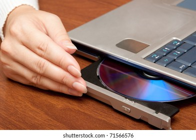 Compact disc on laptop drive
