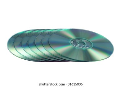 Compact discs isolated on the white background