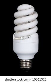 Compact energy saving spiral fluorescent lamp isolated on black background.