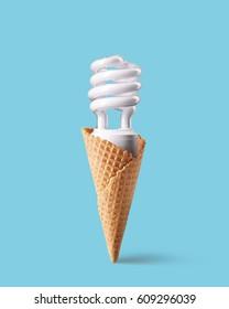 Compact fluorescent bulb in ice cream cone