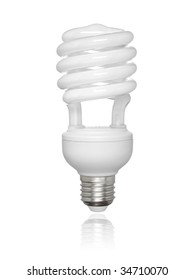 Compact fluorescent light bulb isolated over white background. Small reflection of the bottom.