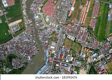 compact neighborhood aerial view