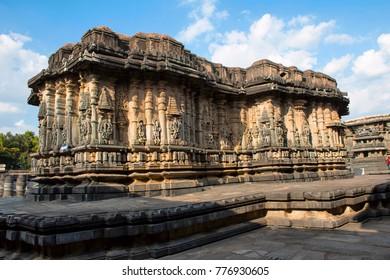 The compact and ornate Veeranarayana temple, Chennakeshava temple complex, Belur, Karnataka, India.