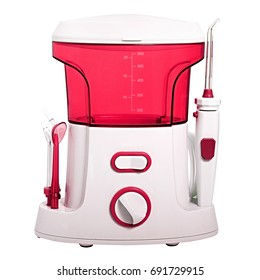 Compact red Oral irrigator of the oral cavity intended for washing the garbage and soft dental patch from the interdental spaces. Side nozzles for tongue, delicate cleansing gums. Isolated on white
