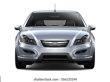 Compact silver car - front view