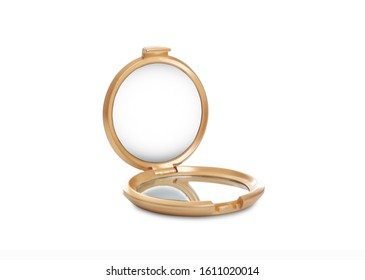 Compact small open mirror isolated on white