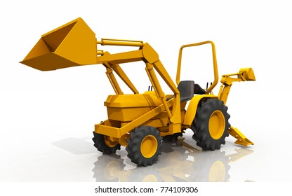Compact tractor, front loader and backhoe, against a white background Computer generated 3D illustration