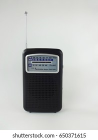 Compact Weather Radio Against a White Background