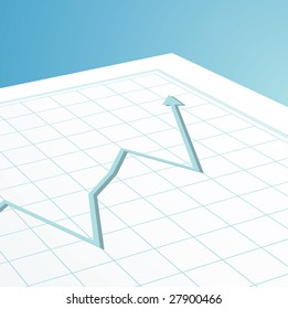 Company accounts showing profit with an arrow on graph paper