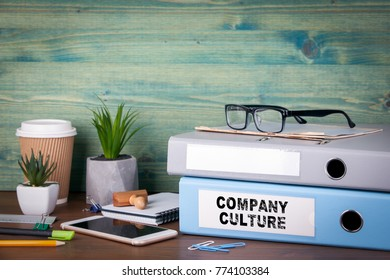 Company Culture. Binders on desk in the office. Business background