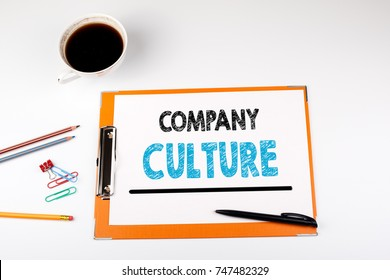 Company Culture, business background. Office desk with stationery